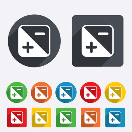 Exposure photo camera sign icon. Quantity of light settings. Circles and rounded squares 12 buttons. Vector Illustration