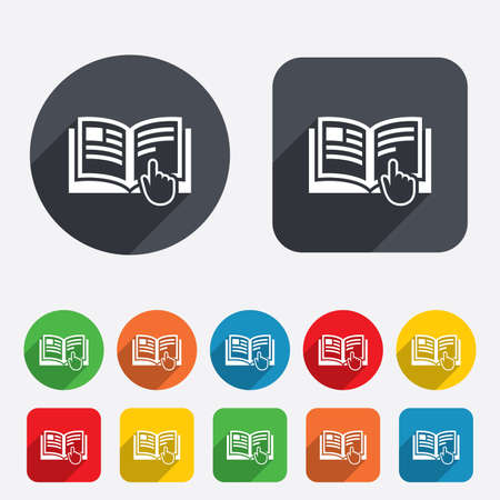 Instruction sign icon. Manual book symbol. Read before use. Circles and rounded squares 12 buttons. Vector Vector