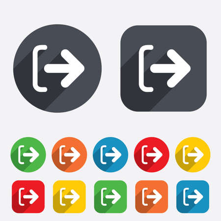 sign out: Logout sign icon. Sign out symbol. Arrow icon. Circles and rounded squares 12 buttons. Vector