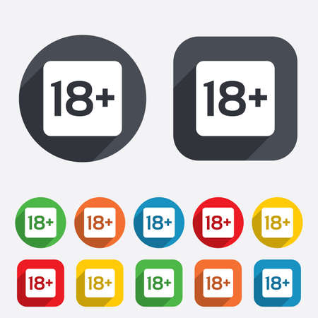 yo: 18 years old sign. Adults content only icon. Circles and rounded squares 12 buttons. Vector Illustration