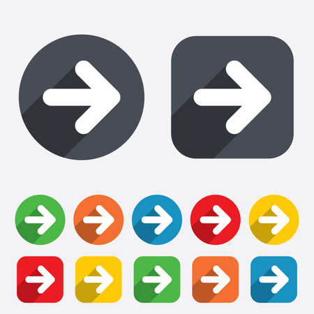 Arrow sign icon. Next button. Navigation symbol. Circles and rounded squares 12 buttons. Vector