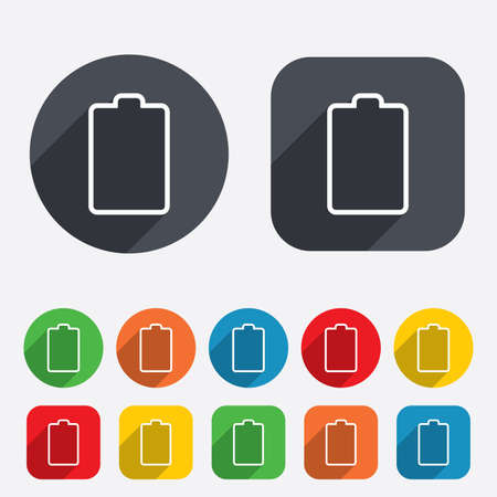 Battery empty sign icon. Low electricity symbol. Circles and rounded squares 12 buttons. Vector Stock Vector - 25795697