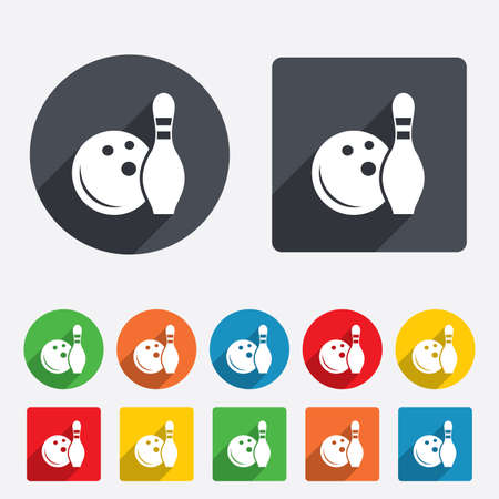 kegelen: Bowling spel teken icoon. Bal met pin kegel symbool. Cirkels en afgeronde vierkanten 12 knoppen. Vector