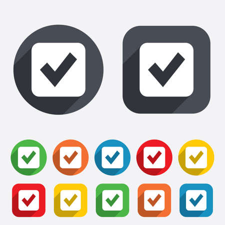 Check mark sign icon. Checkbox button. Circles and rounded squares 12 buttons. Vector