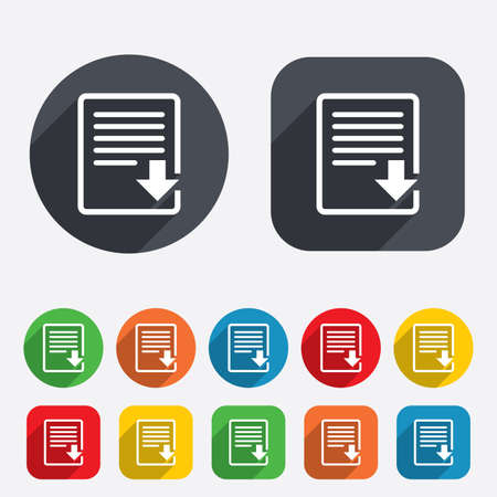 Download file icon. File document symbol. Circles and rounded squares 12 buttons. Vector