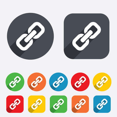hyperlink: Link sign icon. Hyperlink chain symbol. Circles and rounded squares 12 buttons. Vector