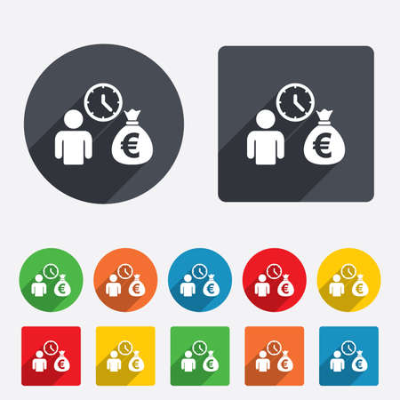 borrow: Bank loans sign icon. Get money fast symbol. Borrow money. Circles and rounded squares 12 buttons. Vector Illustration