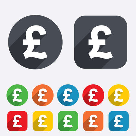 Pound sign icon. GBP currency symbol. Money label. Circles and rounded squares 12 buttons. Vector Illustration