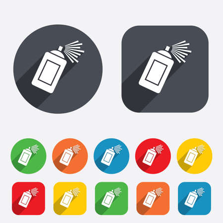 Graffiti spray can sign icon. Aerosol paint symbol. Circles and rounded squares 12 buttons. Vector