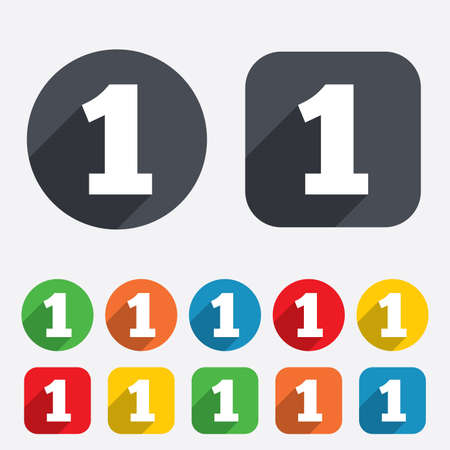 12 step: First place award sign. Winner symbol. Step one. Circles and rounded squares 12 buttons. Vector Illustration