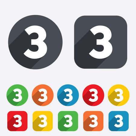 Third place award sign. Winner symbol. Step three. Circles and rounded squares 12 buttons. Vector Vector