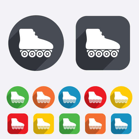 rollerblades: Roller skates sign icon. Rollerblades symbol. Circles and rounded squares 12 buttons. Vector Illustration