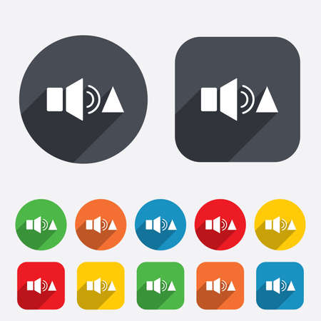 louder: Speaker volume louder sign icon. Sound symbol. Circles and rounded squares 12 buttons. Vector