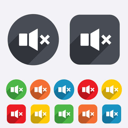Mute speaker sign icon. Sound symbol. Circles and rounded squares 12 buttons. Vector Vector