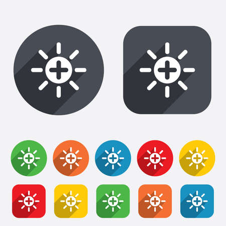 Sun plus sign icon. Heat symbol. Brightness button. Circles and rounded squares 12 buttons. Vector