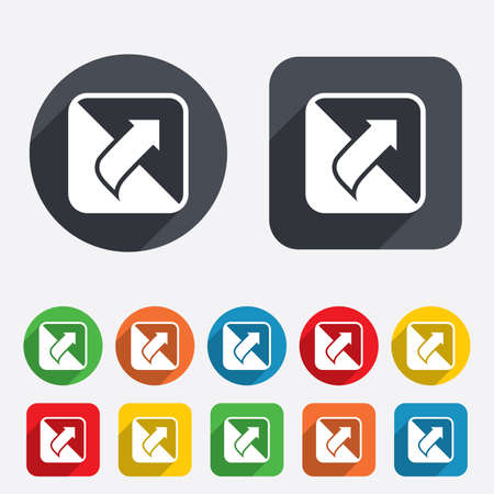 Turn page sign icon. Peel back the corner of the sheet symbol. Circles and rounded squares 12 buttons. Vector Vector