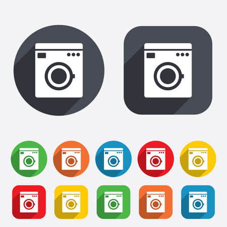 washhouse: Washing machine icon. Home appliances symbol. Circles and rounded squares 12 buttons. Vector Illustration