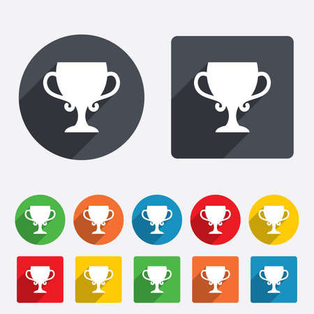 awarding: Winner cup sign icon. Awarding of winners symbol. Trophy. Circles and rounded squares 12 buttons. Vector