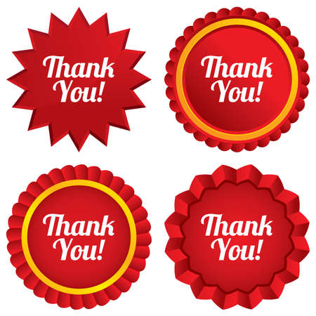 thanks a lot: Thank you sign icon. Customer service symbol. Red stars stickers. Certificate emblem labels. Vector Illustration