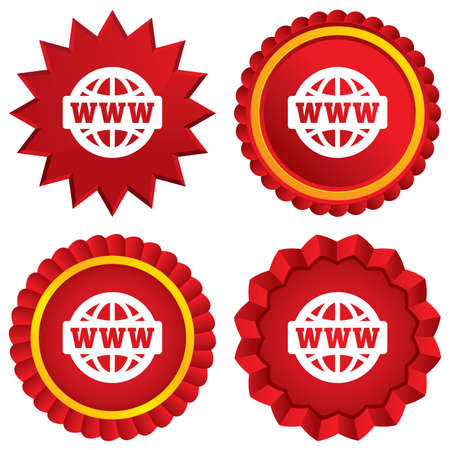 www at sign: WWW sign icon. World wide web symbol. Globe. Red stars stickers. Certificate emblem labels. Vector Illustration