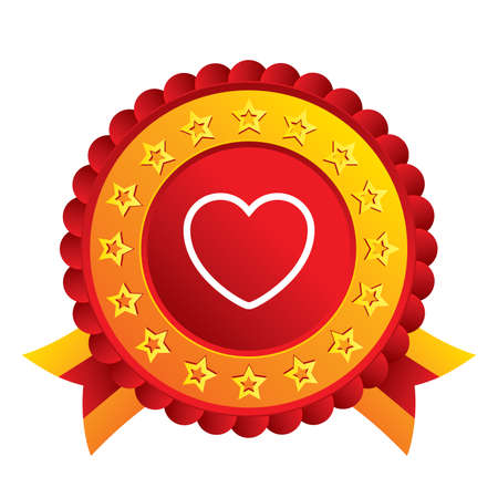 Heart sign icon. Love symbol. Red award label with stars and ribbons. photo