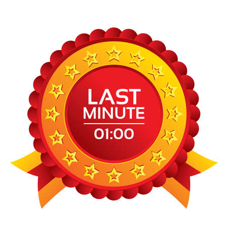 advantageous: Last minute icon. Hot travel symbol. Special offer trip. Red award label with stars and ribbons.