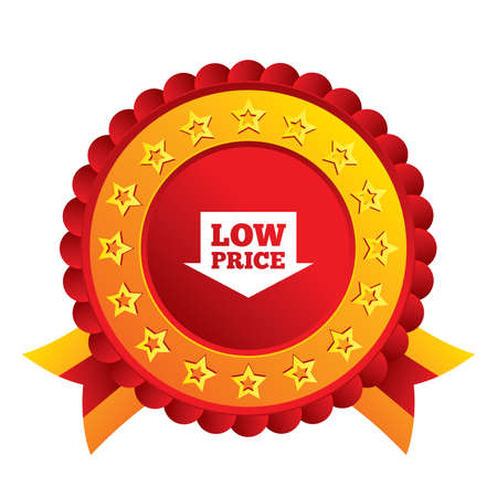 advantageous: Low price arrow sign icon. Special offer symbol. Red award label with stars and ribbons.