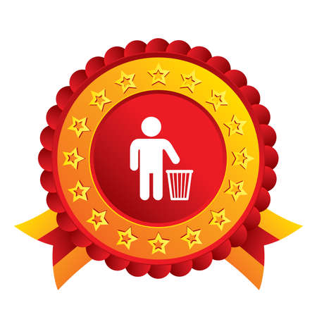 After use to throw in trash. Recycle bin sign. Red award label with stars and ribbons. Stock Photo - 25796393