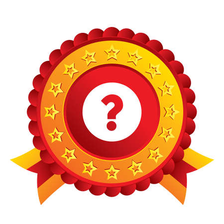 Question mark sign icon. Help symbol. FAQ sign. Red award label with stars and ribbons. photo
