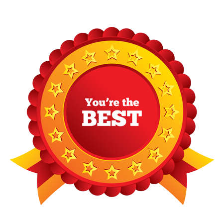 You are the best icon. Customer award symbol. Best buyer. Red award label with stars and ribbons.
