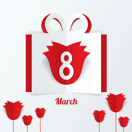 8 March Womens Day paper gift box with red roses on white background. Cut from paper. Ilustrace