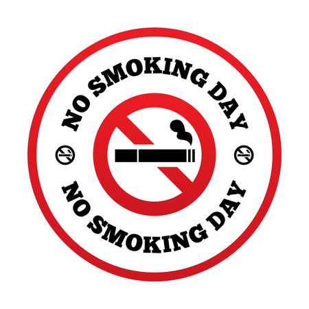 smoldering: Nessun giorno smoking segno. Smettere di fumare simbolo giorno. Vettoriali