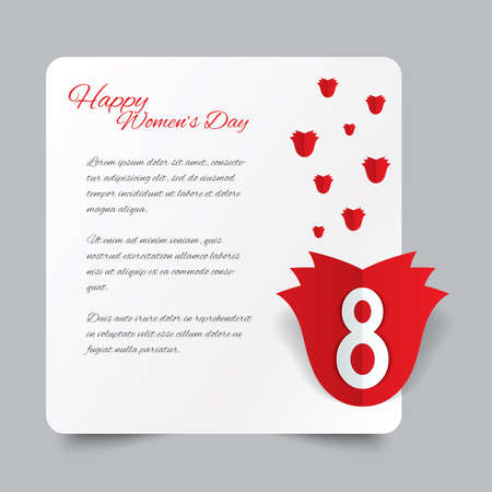 Red paper rose 8 March Womens Day card. Greeting card. Cut from paper.  Vector