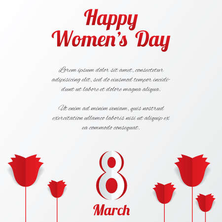 8 March Womens Day card with roses and text on white background. Cut from paper.