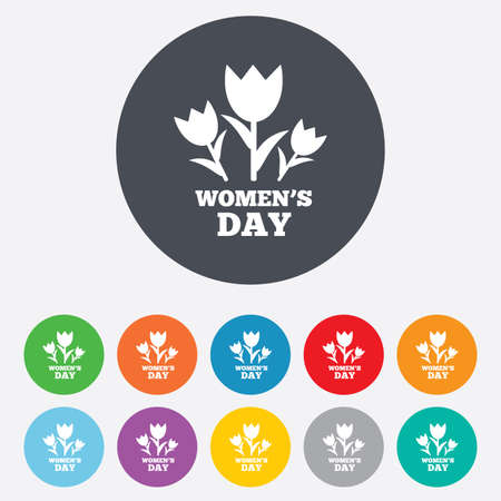 8 March Womens Day sign icon. Flowers symbol. Round colorful 11 buttons.  Vector