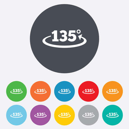 Angle 135 degrees sign icon. Geometry math symbol. Round colorful 11 buttons. Vector