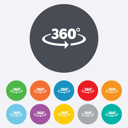 Angle 360 degrees sign icon. Geometry math symbol. Full rotation. Round colorful 11 buttons.