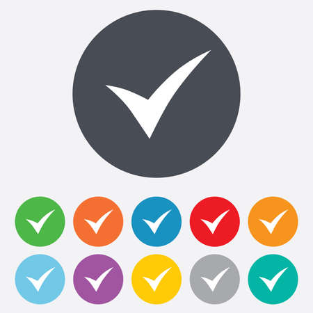 check sign: Check sign icon. Yes symbol. Confirm. Round colorful 11 buttons.