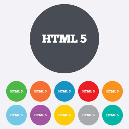 html5: HTML5 sign icon. New Markup language symbol. Round colorful 11 buttons.