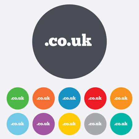 subdomain: Domain CO.UK sign icon. UK internet sub-domain symbol. Round colorful 11 buttons.