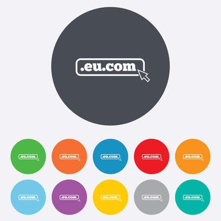 subdomain: Domain EU.COM sign icon. Internet sub-domain symbol with cursor pointer. Round colorful 11 buttons.