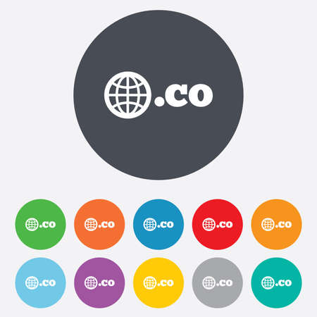 co: Domain CO sign icon. Top-level internet domain symbol with globe. Round colorful 11 buttons.  Illustration