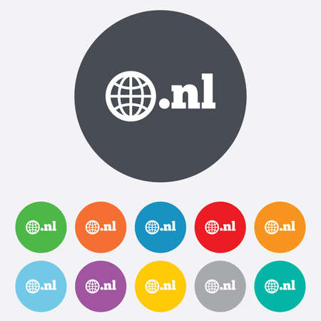nl: Domain NL sign icon. Top-level internet domain symbol with globe. Round colorful 11 buttons.