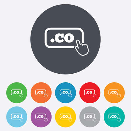 co: Domain CO sign icon. Top-level internet domain symbol with hand pointer. Round colorful 11 buttons.