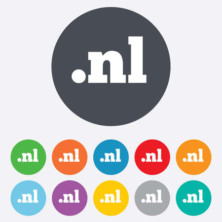 nl: Domain NL sign icon. Top-level internet domain symbol. Round colorful 11 buttons.