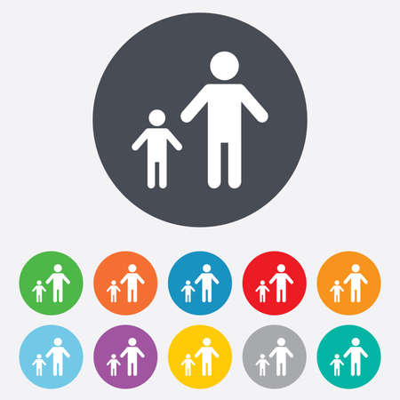 single parent: One-parent family with one child sign icon. Father with son symbol. Round colorful 11 buttons.