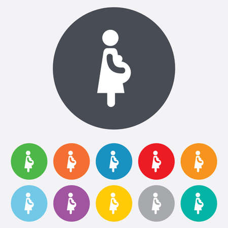 Pregnant sign icon. Women Pregnancy symbol. Round colorful 11 buttons.  Illustration