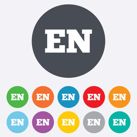 en: English language sign icon. EN translation symbol. Round colorful 11 buttons.