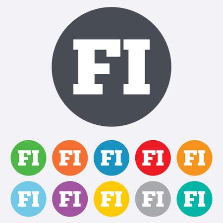 핀란드의: 핀란드어 기호 아이콘. FI 핀란드 번역 상징. 둥근 다채로운 11 버튼. 일러스트