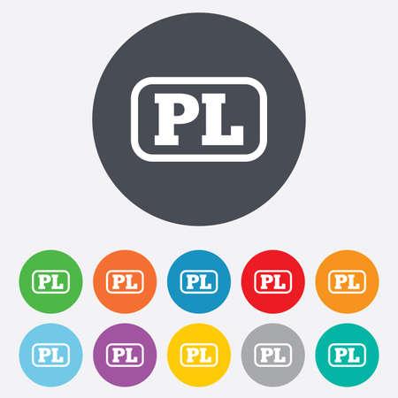 pl: Polish language sign icon. PL translation symbol with frame. Round colorful 11 buttons.  Illustration